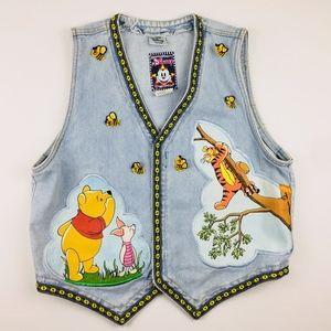Disney By Jou Jou Winnie The Pooh Denim Vest Large